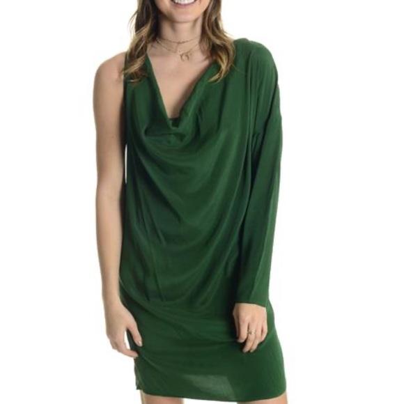 Haute Hippie Dresses & Skirts - Haute hippie silk one shoulder green dress mini